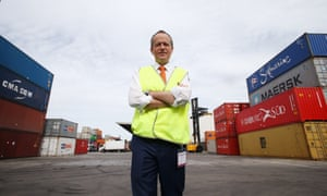 Opposition leader Bill Shorten tours a container freight facility in Port Botany in Sydney this morning, Monday 18th May 2016.