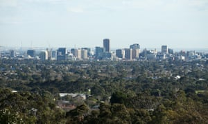 An elevated view of the Adelaide city skyline. The city aims to become carbon neutral in less than five years.