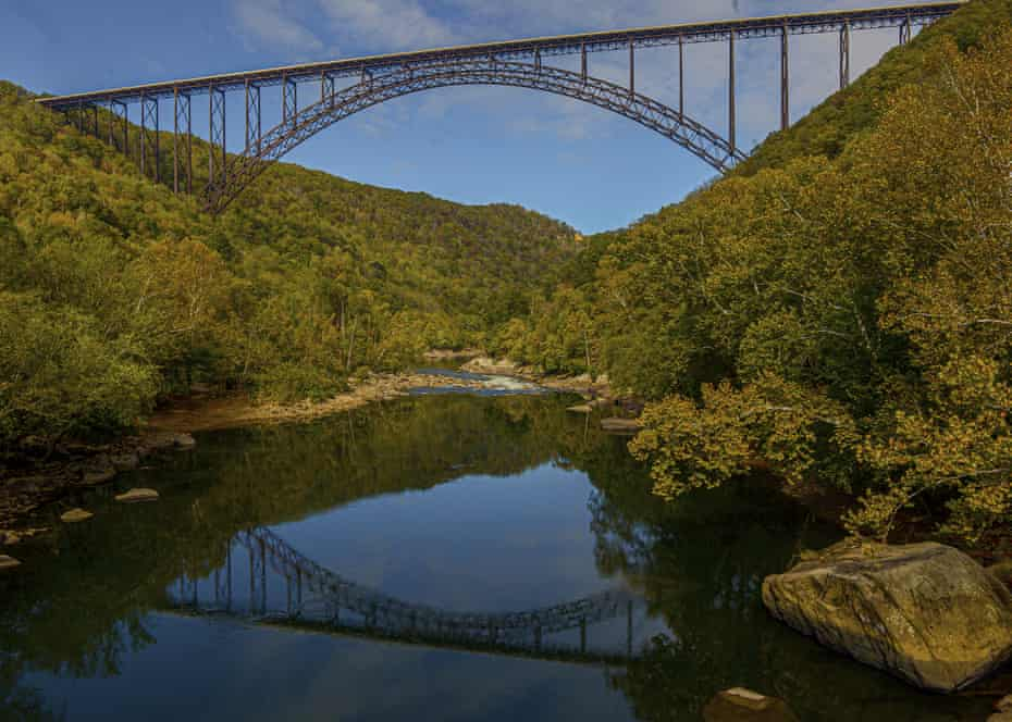 The New River Gorge Bridge, seen from Fayette Station, was once the world's longest single-span arch bridge.