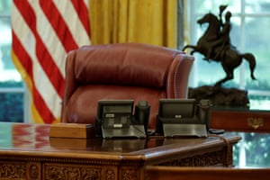The presidential desk in the Oval Office. The White House pointed out that all the new furnishings were 'made in America'