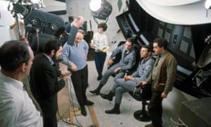 Stanley Kubrick, next to camera, on set of 2001: A Space Odyssey