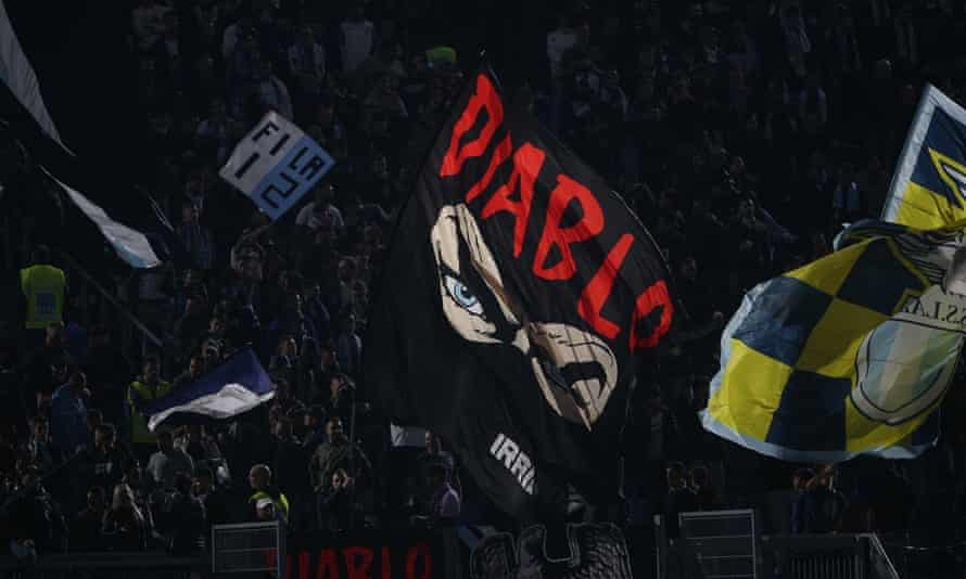 A flag of the Lazio ultràs with the club's most extreme fans having links to the far right