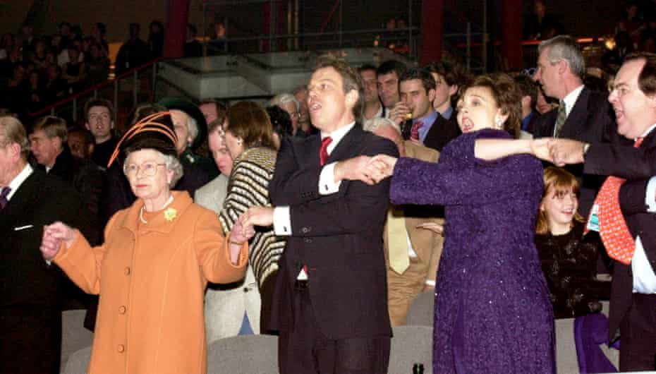 Tony and Cherie Blair welcome in the new millennium alongside the Queen.