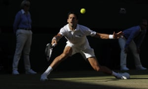 Novak Djokovic stretches to make a return late on in his straight sets victory over Ernests Gulbis.