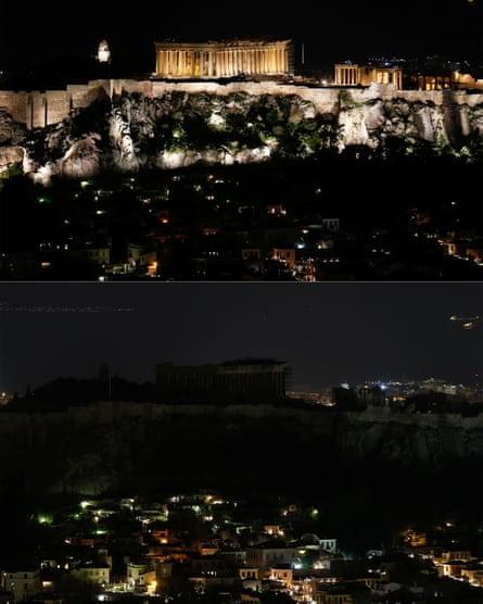 The Parthenon temple atop the Acropolis hill before (top) and during Earth Hour (below) in Athens.