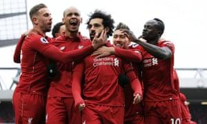 Liverpool's Mohamed Salah celebrates scoring their second goal.