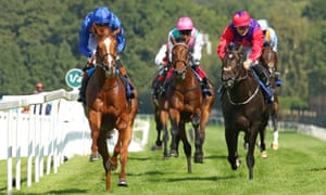 Masar, ridden by James Doyle, powers to victory in the Solario Stakes at Sandown