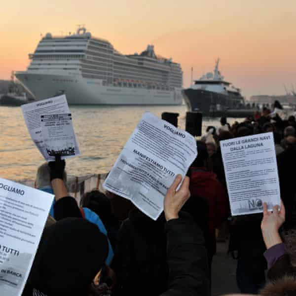 A demonstration against cruise liners being allowed into the city