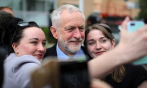 Labour leader Jeremy Corbyn poses for a selfie in York during campaigning on Friday.