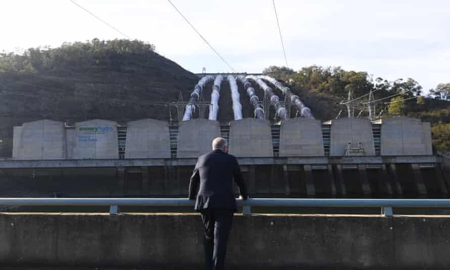 Prime Minister Scott Morrison in front of the Tumut 3 power station at the Snowy Hydro Scheme in Talbingo last year.