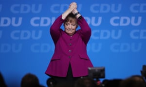 CDU Holds Party Congress, Elects General SecretaryBERLIN, GERMANY - FEBRUARY 26: German Chancellor and Chairwoman of the German Christian Democrats (CDU) Angle Merkel waves to delegates after she spoke at the 30th CDU party congress on February 26, 2018 in Berlin, Germany. The CDU is meeting to confirm the party's coalition contract with the German Social Democrats (SPD) and to elect a new general secretary. The CDU is currently set to go into a government coalition with the SPD in coming weeks. The congress comes the day after Merkel announced her choice of CDU government cabinet members that includes an outspoken critic of Merkel, Jens Spahn. (Photo by Sean Gallup/Getty Images)