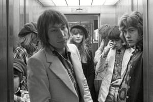 Charlie Watts, Bill Wyman and Mick Taylor at the Kalastajatorppa Hotel in Helskini, Finland, on 2 September 1970