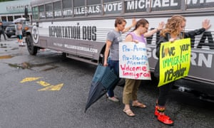 Michael Williams appears at a 'Deportation Bus Tour' stop in Clarkston, Georgia Wednesday.