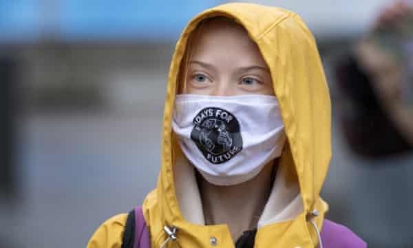 Greta Thunberg attends a Fridays For Future protest outside the Swedish parliament in Stockholm.