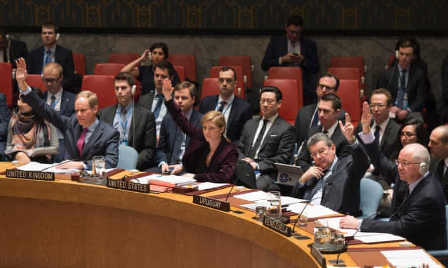 Members of the UN security council vote during a meeting on sanctions against North Korea on 2 March 2016.
