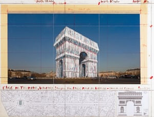 2019, ParisChristo's planned work L'Arc de Triomphe Wrapped as seen at the Wrapped exhibition at Centre Pompidou, accompanied by architectural and topographic survey and hand-drawn map on vellum.