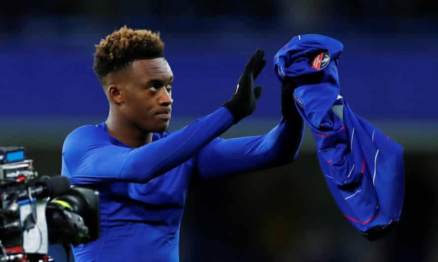 Callum Hudson-Odoi prepares to hand his shirt to the Chelsea fans after scoring his second goal of the season in the 3-0 FA Cup win over Sheffield Wednesday on Sunday.