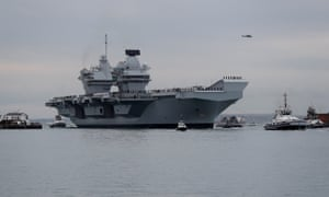 Royal Navy's new aircraft carrier HMS Queen Elizabeth arrives in Portsmouth.