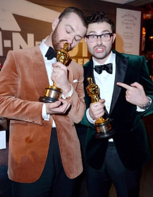 Sam Smith and songwriter Jimmy Napes at Vanity Fair Oscar Party
