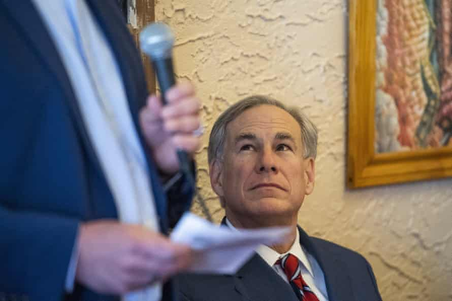Governor Abbott last week at an event to announce he is rescinding the mask mandate.