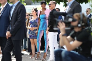 Cannes, France Damaris Lewis (C) and Finnish actor Jasper Paakkonen