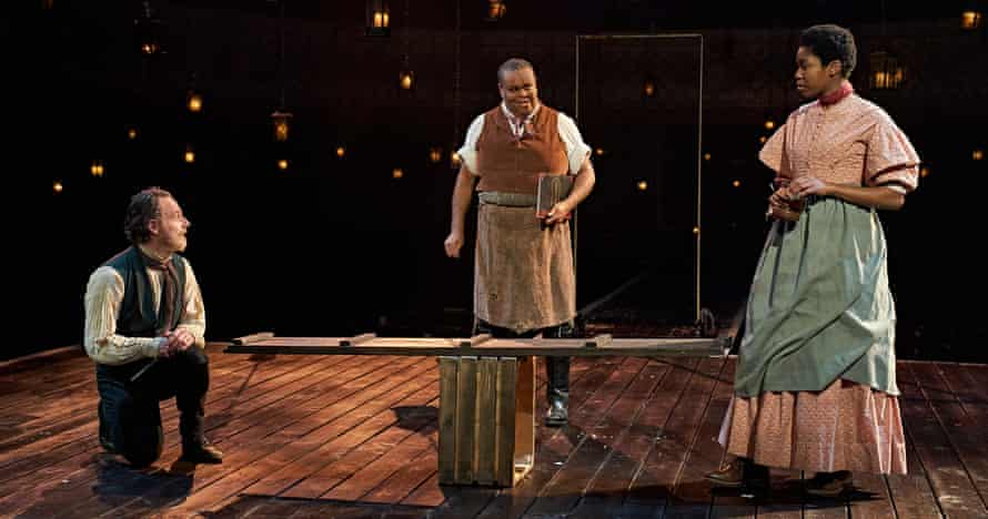 Balancing act … Andrew Lincoln, Clive Rowe and Gloria Obianyo in A Christmas Carol.
