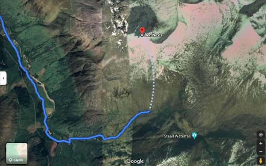 A Google Maps screenshot issued by Mountaineering Scotland showing a dangerous 'route' up Ben Nevis.