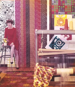 Gere Kavanaugh in a photo taken for the Los Angeles Times Home magazine in 1967, surrounded by her colourful fabric designs.