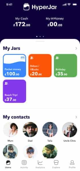 HyperJar, the kids money management app.