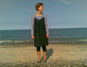 Writer Morwenna Ferrier on Aldeburgh beach in Suffolk, in her early 20s