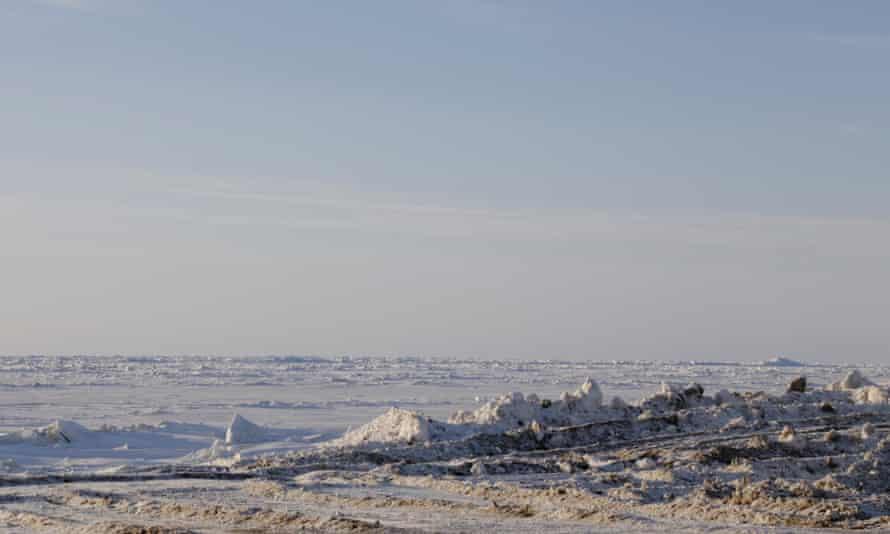 Sea ice near Utqiaġvik on the north coast of Alaska.