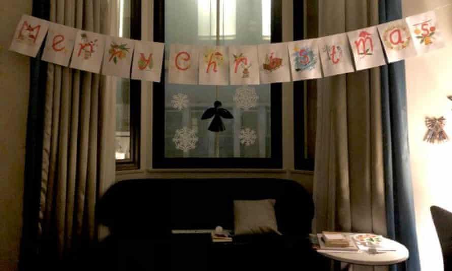 Christmas decorations in Emytha Taihutu's Sydney hotel room.