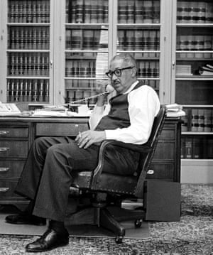 Now solicitor general of the United States, Marshall talks on the phone in his Department of Justice office in December 1965.