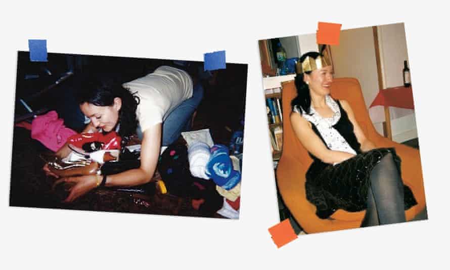 ترکیبی از عکسهای لورن کوکران که باری از کفش را در آغوش گرفته و لباسی سیاه و کلاه مهمانی پوشیده است