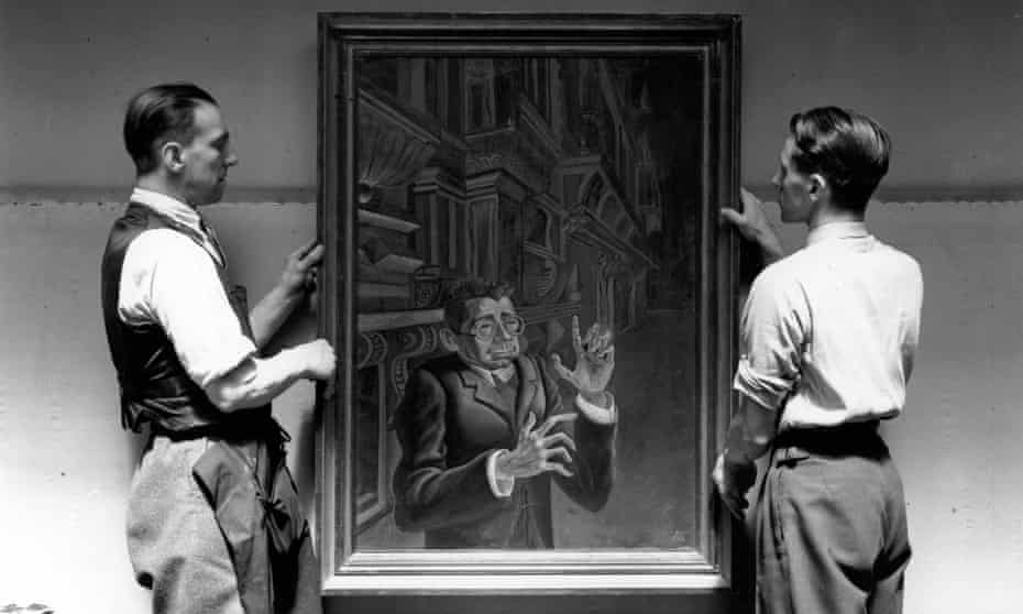 A portrait of Myarski by Otto Dix at an exhibition of 'degenerate' German art at the New Burlington Galleries, London, 1938.
