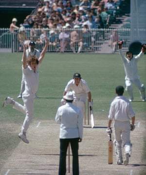 Bob Willis of England traps Australia's captain Ian Chappell LBW for 0 during the 3rd Test match between Australia and England at the MCG, Melbourne, Australia, 31st December 1974. The fielders for England are Colin Cowdrey and wicketkeeper Alan Knott, and the non-striking batsman for Australia is Ian Redpath. The match ended in a draw.