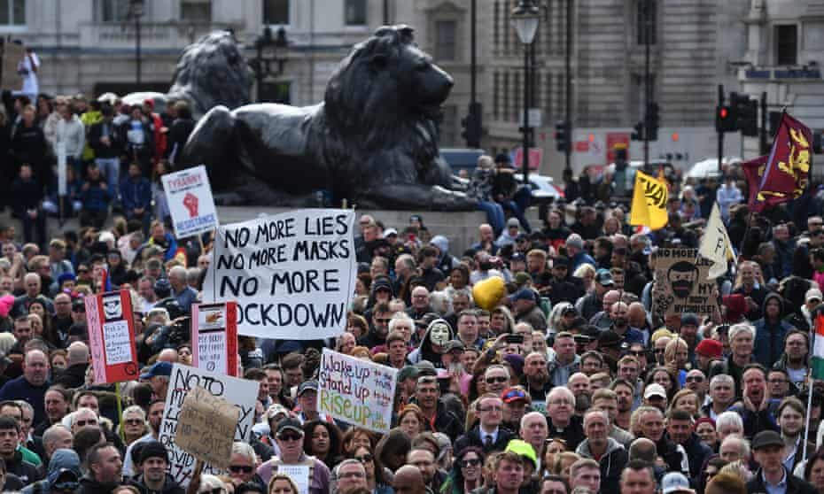 People attend a 'We Do Not Consent' rally at Trafalgar Square in London, Britain, 26 September 2020.