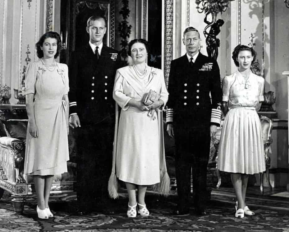 Philip Mountbatten, second from left, with, from left, Princess Elizabeth, Queen Elizabeth, King George VI and Princess Margaret at Buckingham Palace, 1947.