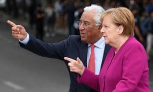 Portuguese prime minister Antonio Costa with Angela Merkel