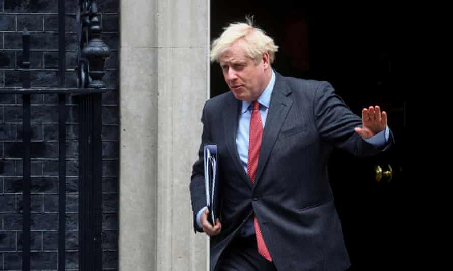 Boris Johnson leaves 10 Downing Street.