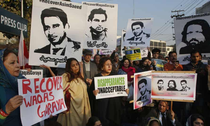 A protest in Lahore, Pakistan, in 2017 on behalf of four activists who had then disappeared.