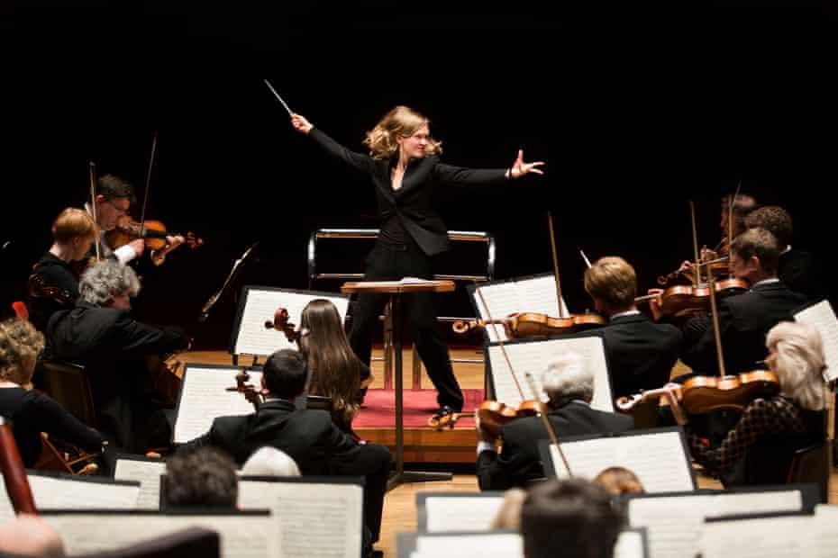 Mirga Gražinytė-Tyla conducting the CBSO in Birmingham in 2016, the year she took charge.