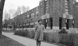 Linda Brown in 1953 outside the Topeka school that had refused to enrol her.