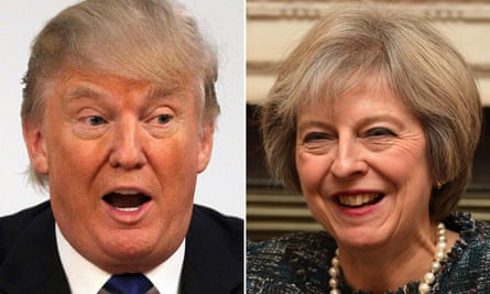 Donald Trump (and in a separate image) Theresa May