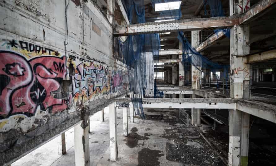 Graffiti inside the derelict former Bristol Royal Mail sorting office