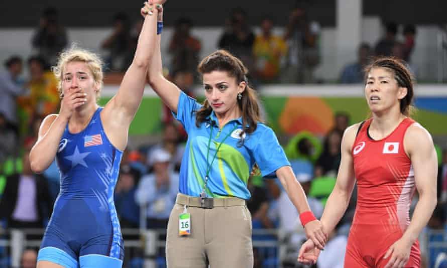 Helen Louise Maroulis of the US beats Japan's Saori Yoshida in the women's 53kg freestyle wrestling final.