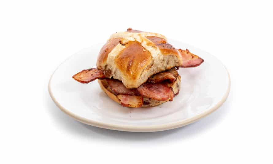 Bacon-filled hot cross buns, an Easter offering in the Waste Not range from Gail's.