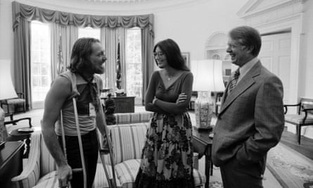 Jimmy Carter with Willie Nelson and Emmylou Harris.