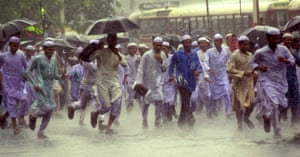 JAMAT PROTESTProtests in Gujarat in 2002 as a sudden rainstorm hits. Modi, minister of the state at the time, faced calls for his removal after over 1000 died in the violence.