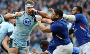 Scotland's Jamie Ritchie feels the full force of France's Mohammed Haouas during the Six Nations game.